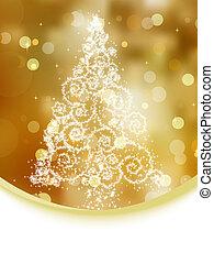 Christmas tree illustration on gold bokeh. EPS 8