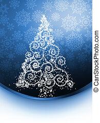 Christmas tree illustration on golden. EPS 8