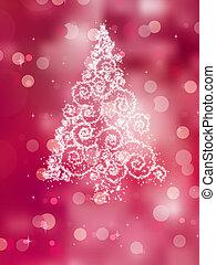 Christmas tree illustration on pink. EPS 8