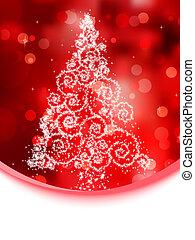 Christmas tree illustration on red bokeh. EPS 8