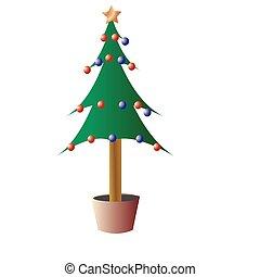 christmas tree ilustration on white isolated background