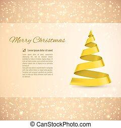 Christmas tree - Christmas greeting card with yellow ribbon...