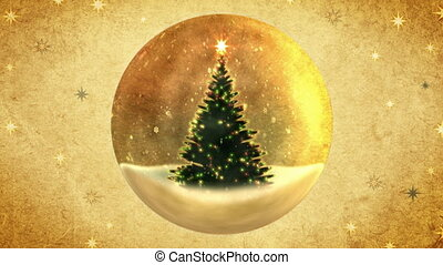 Christmas tree in a crystal ball.Retro style.