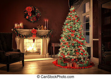 christmas tree in a room with fireplace, 3d rendering