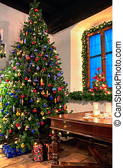 Christmas Tree in a rustical room
