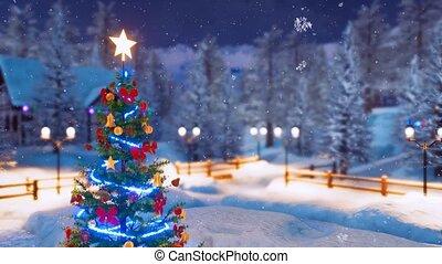 Christmas tree in alpine village at snowfall night 4K -...
