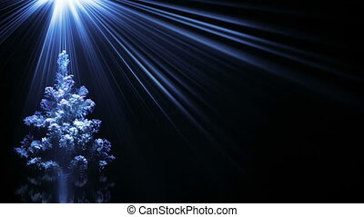 christmas tree in blue light rays loop background
