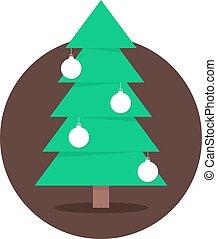 christmas tree in circle with xmas balls