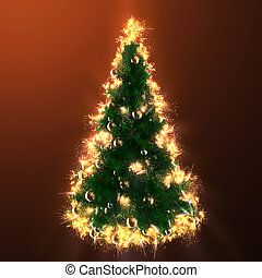 Christmas tree in fire