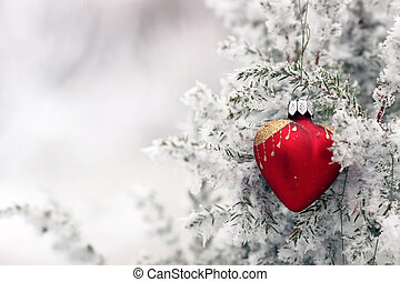 Christmas tree in frost heart