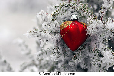 Christmas tree in frost heart - Red glass Christmas hearts...