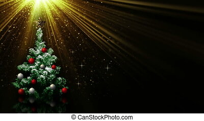 christmas tree in light rays loop - christmas tree in light...