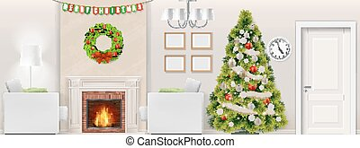 christmas tree in living room interior with fireplace