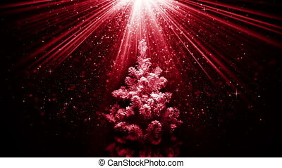 christmas tree in red light beams