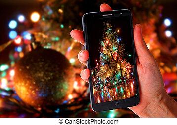 Christmas tree in smartphone