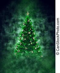 Christmas tree in smoke with bokeh