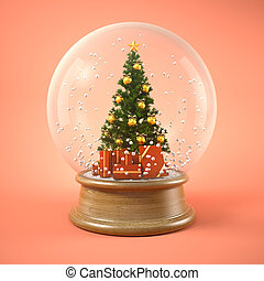 Christmas tree in snow ball 3D illustration