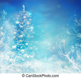 Christmas Tree in Snow. Winter frozen background