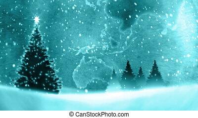 Christmas tree in the big globe.
