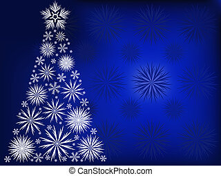 Christmas tree in the blue snow flakes