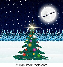 Christmas tree in the forest and Santa Claus on a background of