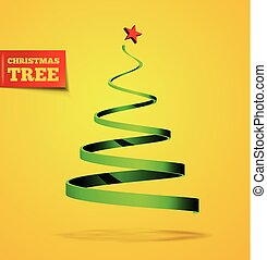 Christmas tree in the form of a ribbon with a shadow. Vector