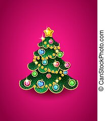 Christmas tree in the shape of a Christmas tree toy decorated with precious stones, vector illustration