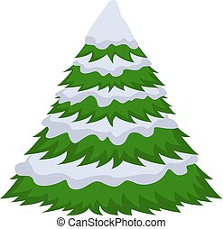 Christmas tree in the snow. On a white background, cartoon flat vector illustration.