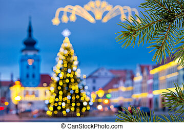 Christmas tree in the town in the christmas time