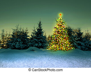 Christmas tree in the winter forest.