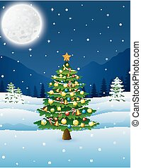 Christmas tree in the winter night landscape