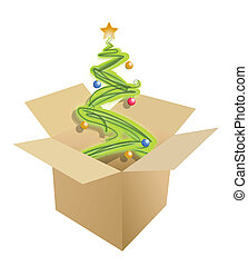christmas tree inside a box