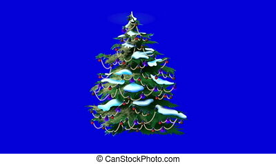 Christmas Tree Isolated on Blue Background