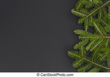 Christmas tree isolated on the black background. flat lay mock-up