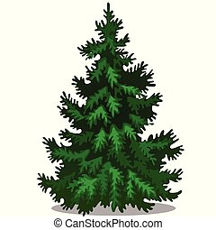 Christmas tree isolated on white background. Sample of poster, party holiday invitation, festive card. Vector cartoon close-up illustration.