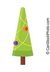 Christmas Tree Isolated on White. Cartoon Fir