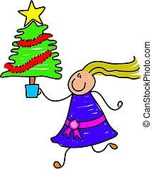 Christmas tree kid - happy little girl holding a Christmas...