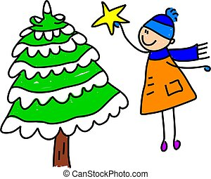 Christmas tree kid - little boy reaching up to put a star on...