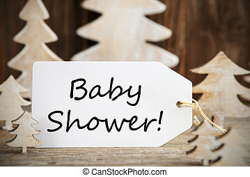 Christmas Tree, Label With English Text Baby Shower - Label ...