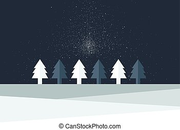 Christmas tree land. Snow flakes falling in the night. ...