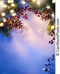 Christmas tree light; blue snow background;