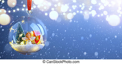 Christmas tree light; Blue Snowy winter Christmas Landscape