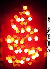 Christmas tree light pattern in blur