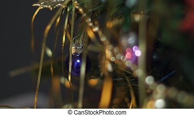 Christmas tree lights and decorations in December.