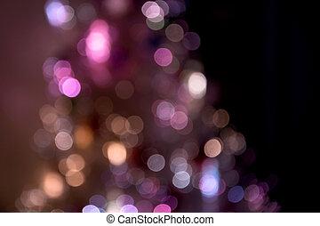 Christmas tree lights at home, unfocused