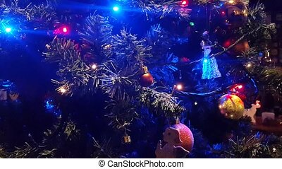 Christmas tree lights flashing