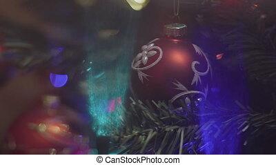 Christmas Tree Lights Twinkling. Christmas and New Year...