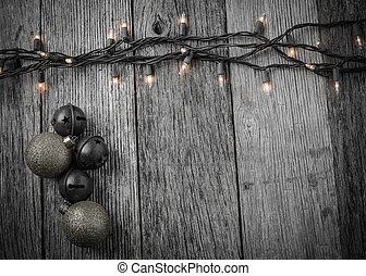 Christmas Tree Lights With Rustic Wood Background And Gold Ornam