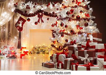Christmas Tree Lights, Xmas Fireplace Living Room Scene, Holiday Interior Decoration