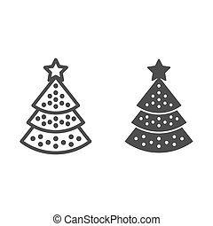 Christmas tree line and glyph icon. Christmas decorated tree vector illustration isolated on white. Fir-tree outline style design, designed for web and app. Eps 10.